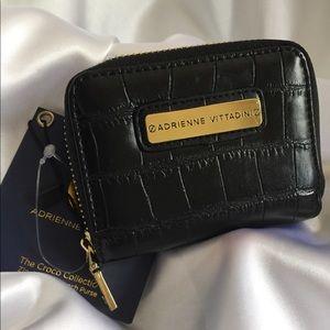 Adrienne Vittadini Black Croc French Style Wallet